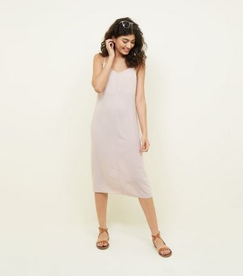 Pale Pink V Neck Midi Slip Dress