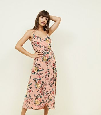 Pink Floral Strappy Wrap Front Midi Dress