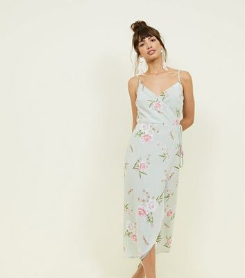 Mint Green Floral Wrap Front Midi Dress