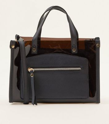 Black Contrast Double Handle Bag by New Look