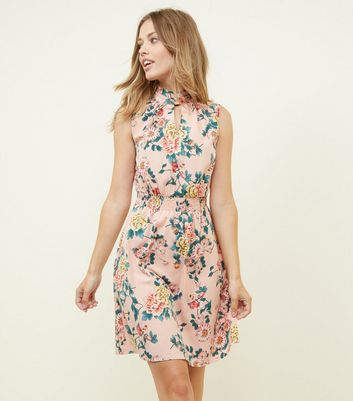 Pink Floral Choker Neck Shirred Waist Dress