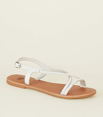 Teens White Leather Beaded Cross Strap Sandals
