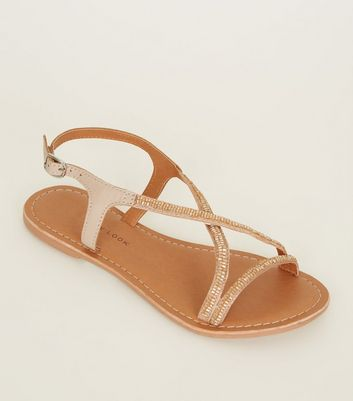 Teens Nude Leather Beaded Cross Strap Sandals