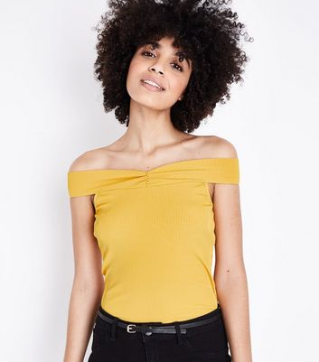 Yellow Ribbed Sweetheart Neck Top