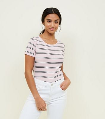 Petite Pink Stripe Ribbed T-Shirt