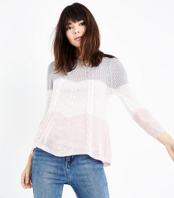 Cameo Rose Pale Grey Contrast Cable Knit Jumper
