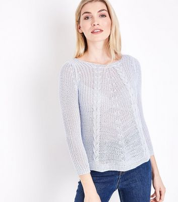 Cameo Rose Pale Blue Fine Cable Knit Jumper