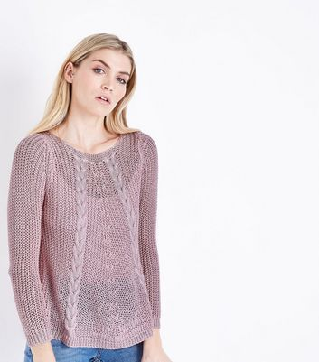 Cameo Rose Pink Fine Cable Knit Jumper