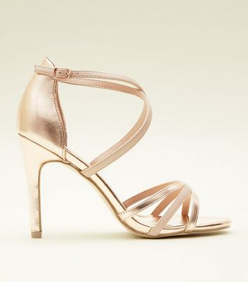 Rose Gold Strappy Stiletto Sandals