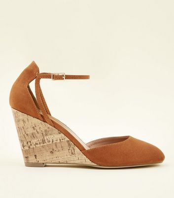 Tan Suedette Ankle Strap Cork Wedges