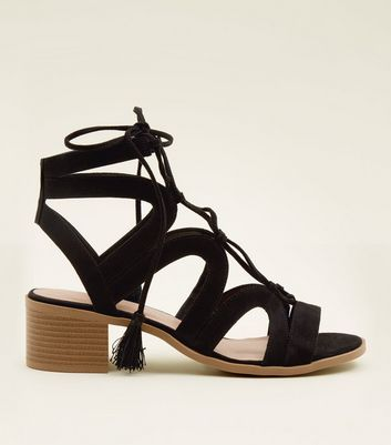 Black Suedette Ghillie Lace Up Heeled Sandals