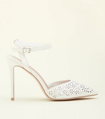 White Leather-Look Laser Cut Two Part Courts