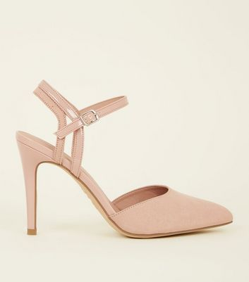 Nude Suedette Contrast Strap Pointed Heels by New Look