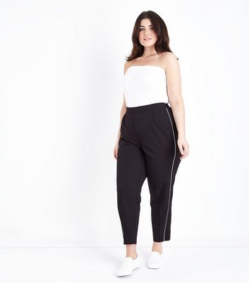 Curves Black Piped Stripe Tapered Trousers