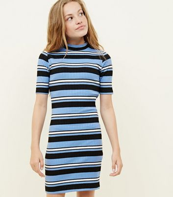 Girls Blue Stripe High Neck Bodycon Dress