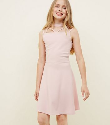 Girls Pale Pink Scuba Skater Dress