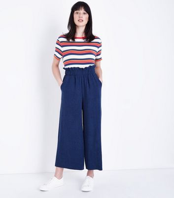 Navy Wide Leg Paperbag Trousers