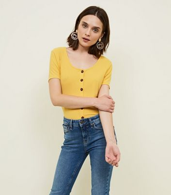 Tall Yellow Ribbed Button Front T-Shirt