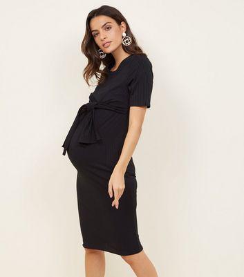 ... Maternity Black Ribbed Tie Front Midi Dress