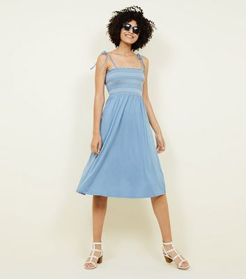 Pale Blue Contrast Stitch Shirred Midi Dress
