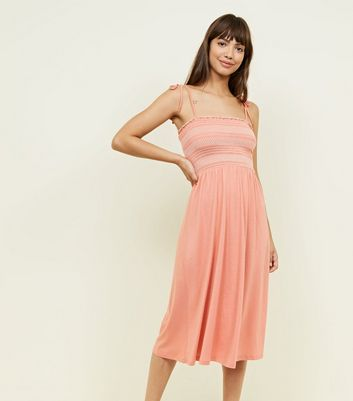 Coral Contrast Stitch Shirred Midi Dress