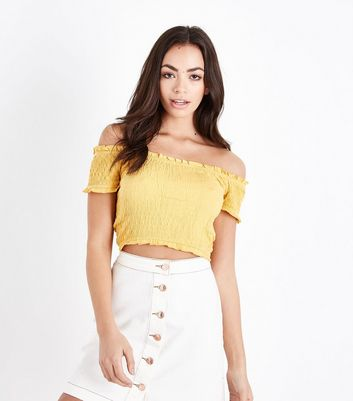 Yellow Shirred Bardot Neck Crop Top