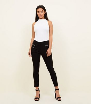Petite Black Zip Front Slim Leg Trousers