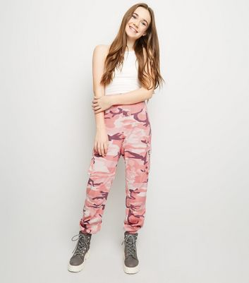 Girls Mid Pink Camo Utility Trousers