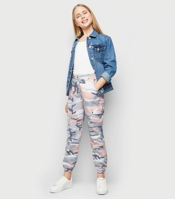 Girls Pale Pink Camo Utility Trousers