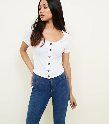 Petite White Ribbed Button Front T-Shirt