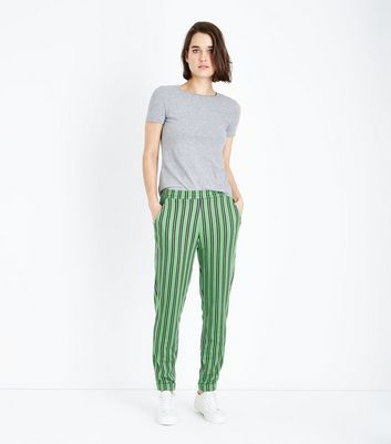 Innocence Green Stripe Slim Leg Trousers