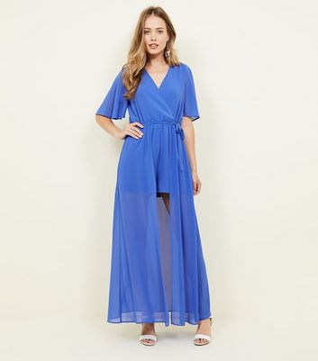 Blue Wrap Front Maxi Playsuit