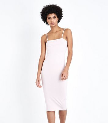 Pale Pink Square Neck Strappy Midi Dress