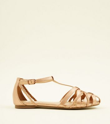 Girls Rose Gold Caged Flat Sandals