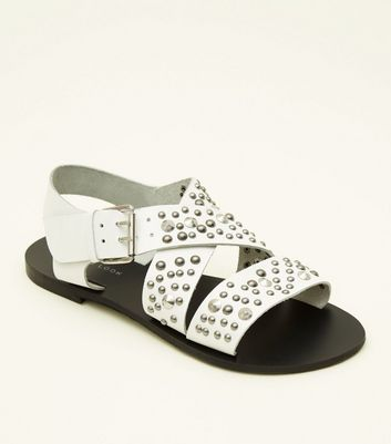 White Leather Studded Strappy Flat Sandals