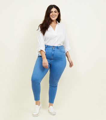 Curves Bright Blue High Waist Super Skinny Jeans
