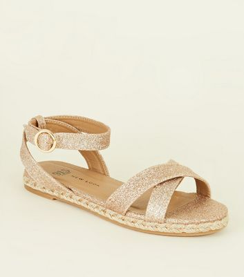 Girls Pink Glitter Espadrille Sandals