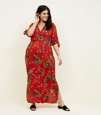Curves Red Floral Tie Sleeve Maxi Dress