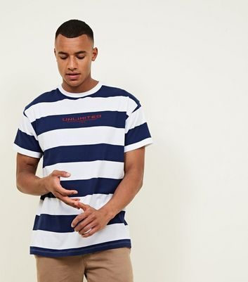 Bright Blue Unlimited Embroidered Stripe T Shirt by New Look