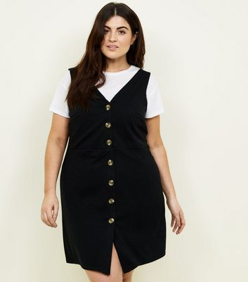 Curves Black Cross Hatch Button Front Pinafore Dress