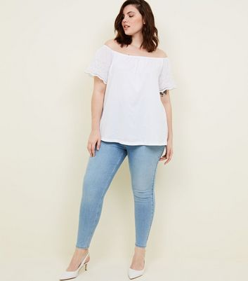 Curves Pale Blue High Waist Super Skinny Jeans