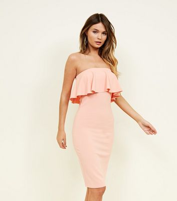 Coral Frill Bandeau Bodycon Dress