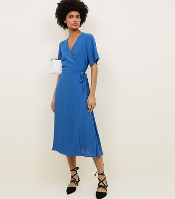 Bright Blue Wrap Front Midi Dress