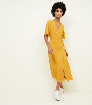 Mustard Yellow Wrap Front Midi Dress