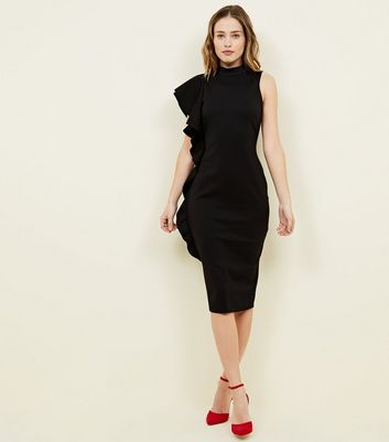Black Frill Side Bodycon Dress