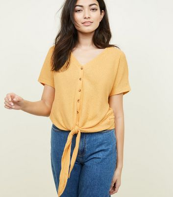 Yellow Ribbed Button Tie Front T-Shirt