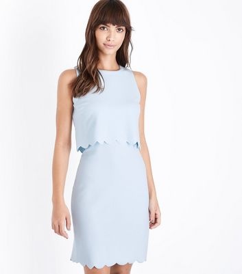 Pale Blue Scalloped Double Layer Shift Dress