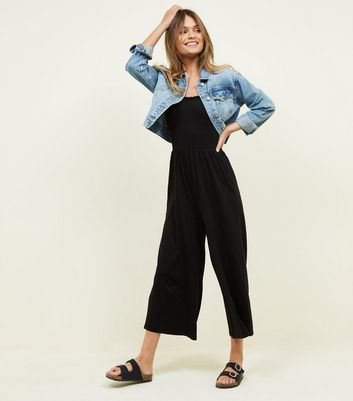 Black Shirred Jersey Culotte Jumpsuit