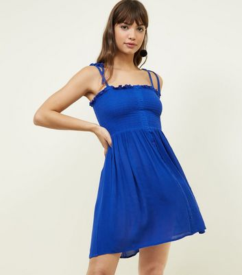 Blue Shirred Button Front Sundress