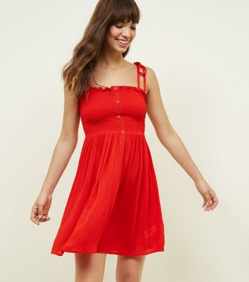 Red Shirred Button Front Sundress